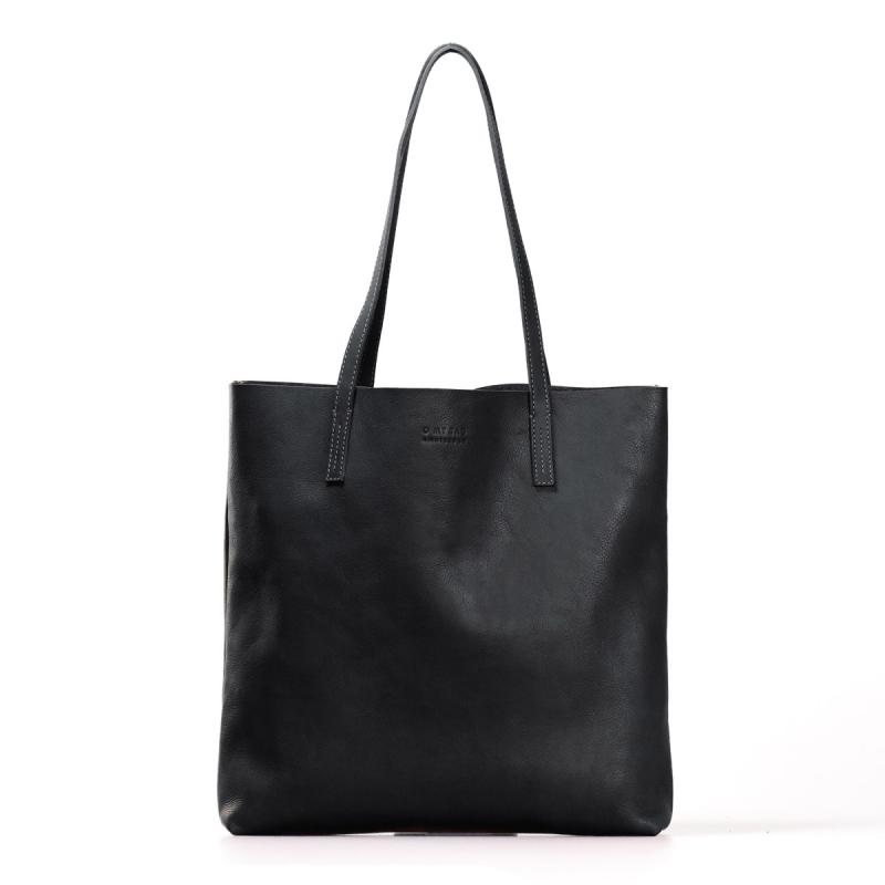 Georgia Black Soft Grain Leather - kožená shopper kabelka