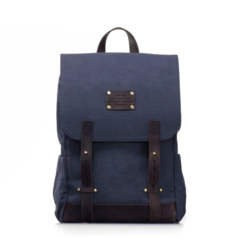 Mau´s Backpack Navy Waxed Canvas/Dark Brown Hunter Leather - batoh