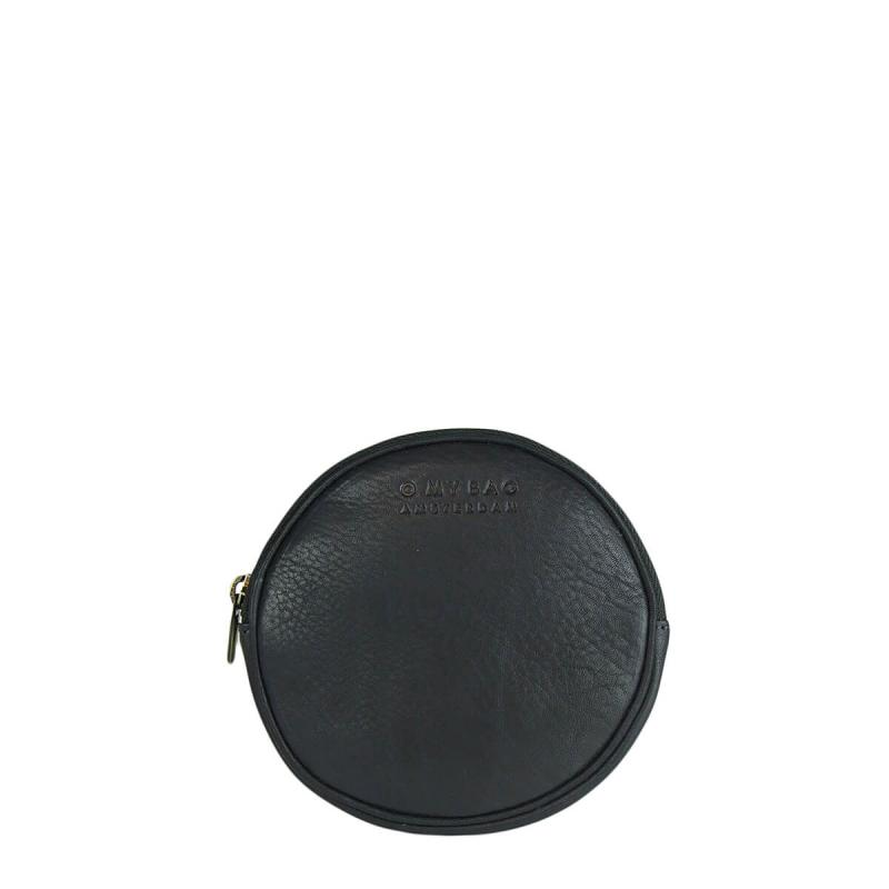 Luna Purse Black Soft Grain Leather - kruhová peňaženka