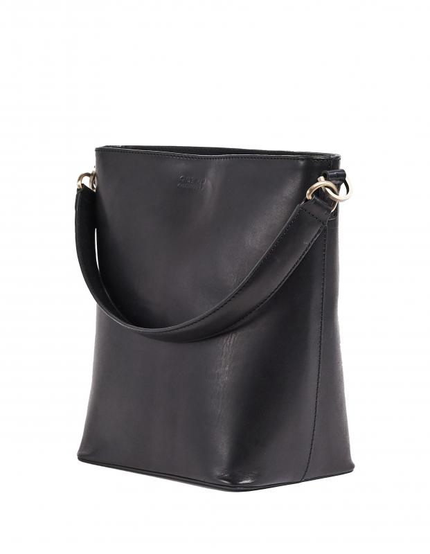 Bobbi Bucket Bag Maxi Black Classic Leather - kožená kabelka