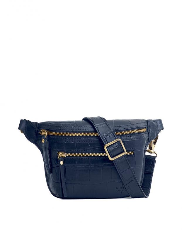 Beck´s Bum Bag Navy Croco Classic Leather - kožená ľadvinka