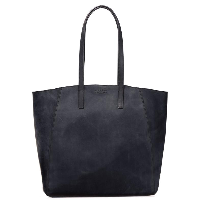 Jazzy Jess Black Hunter Leather - kožená shopper kabelka